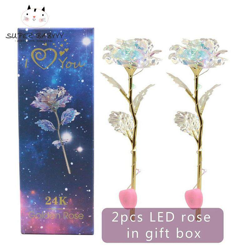 SBY 2 Sets LED Light Crystal Rose Flower Kit for Anniversary Valentines Day