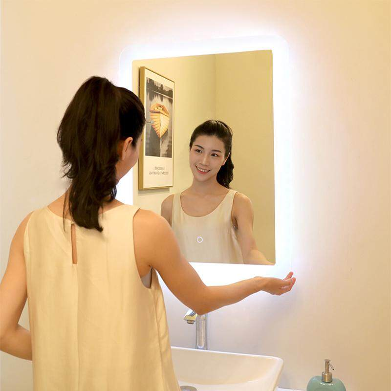 Square bathroom mirror led backlit modern touch switch bathroom