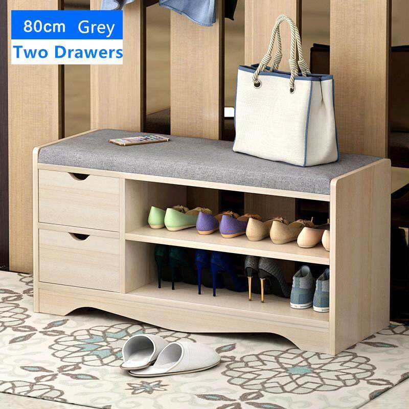 Shoe Storage Bench with Storage Stool Shoe Rack Cabinet Grey by Olive Al Home