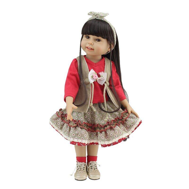 18 Inch Handmade Doll Full Body Vinyl Silicone Baby Doll Toys Realistic Toddler Reborn Doll For Children Birthday Gift