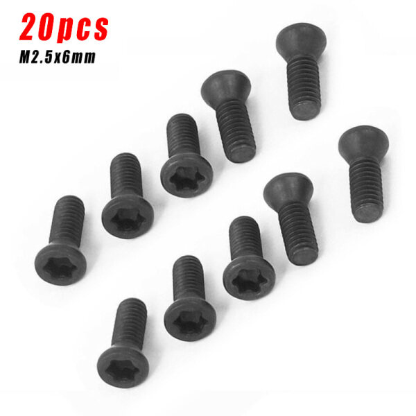 Replacement Screw Set Equipment Metalworking 20Pcs Black Carbide Insert CNC Lathe Practical