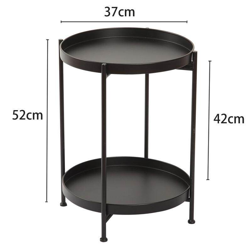 RuYiYu - 37x52cm, 2 Layer Round Coffee Table, Multi-color Optional, Metal Frame, Small Night Stand Table, Telephone Sofa Snack Table for Living Room Home and Bedroom
