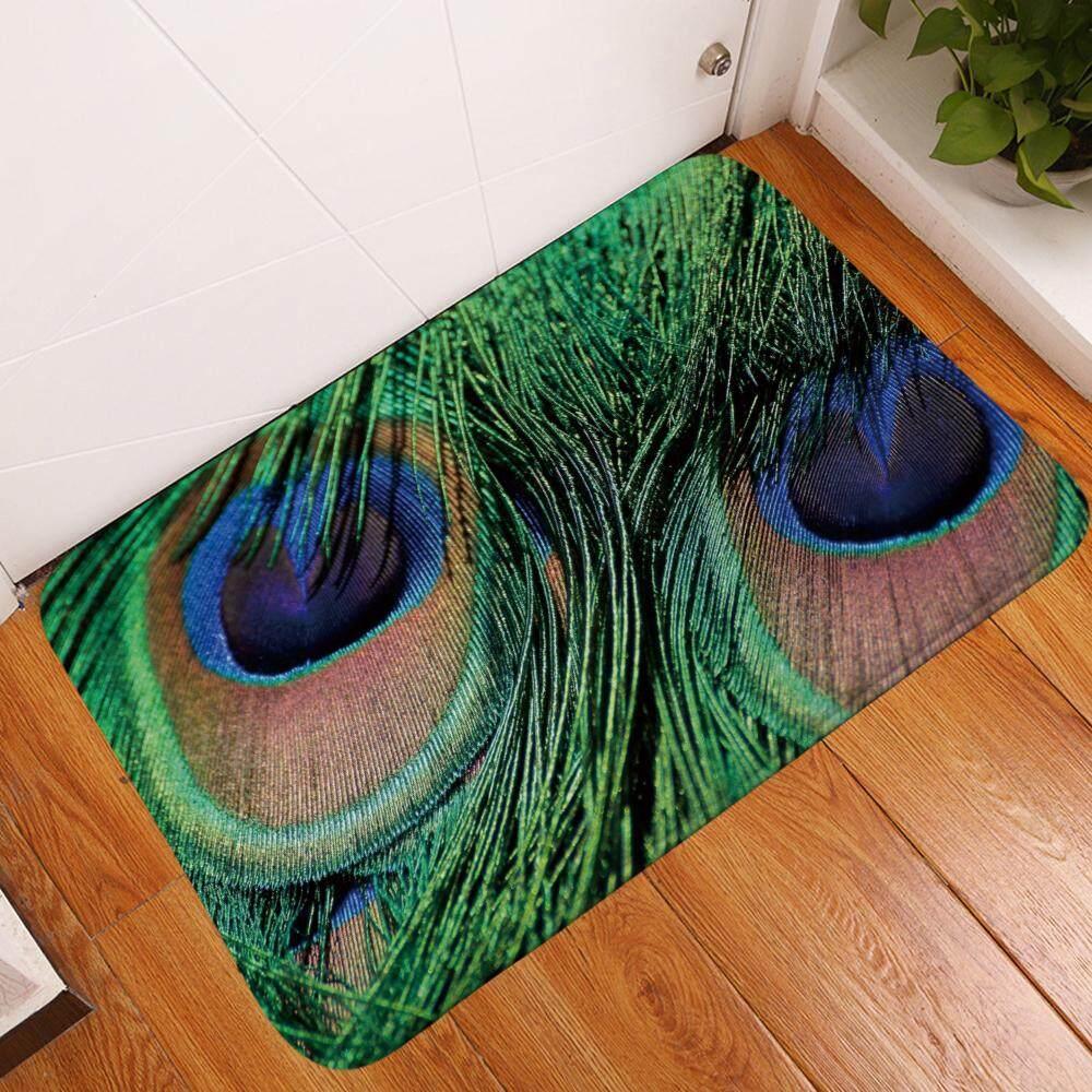Peacock feather Kitchen Bath Bathroom Shower Floor Home Door Mat Rug Non-Slip