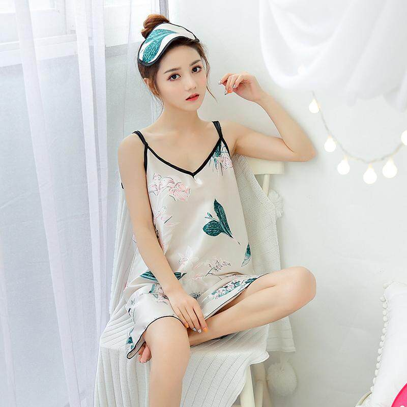 2a832ae7613 [NEW ARRIVAL] Women Satin Silk Strap Pyjamas Sleepwear Dress V Neck Elegant  Designer Artwork Pink BlackStripe/CreamyWhite Ribbon/Pink ...