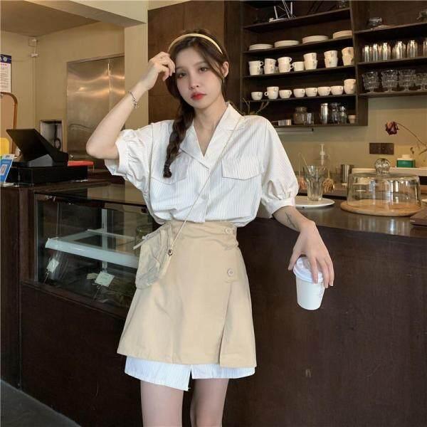 Nơi bán [Đốm] Áo Sơ Mi Ngắn Tay Phong Cách Hàn Quốc Váy + Nửa Chiều Dài Váy Bộ Đồ Hai Mảnh Ngọt Ngào Dáng Rộng Và Mỏng Thường Ngày Phù Hợp