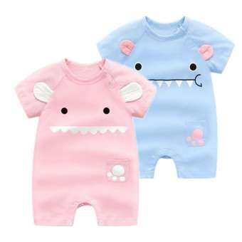 ใหม่ล่าสุดน่ารักทารกแรกเกิดบาง Bodysuits Baby PURE ผ้าฝ้ายแขนสั้นเปิดคลานเสื้อผ้า