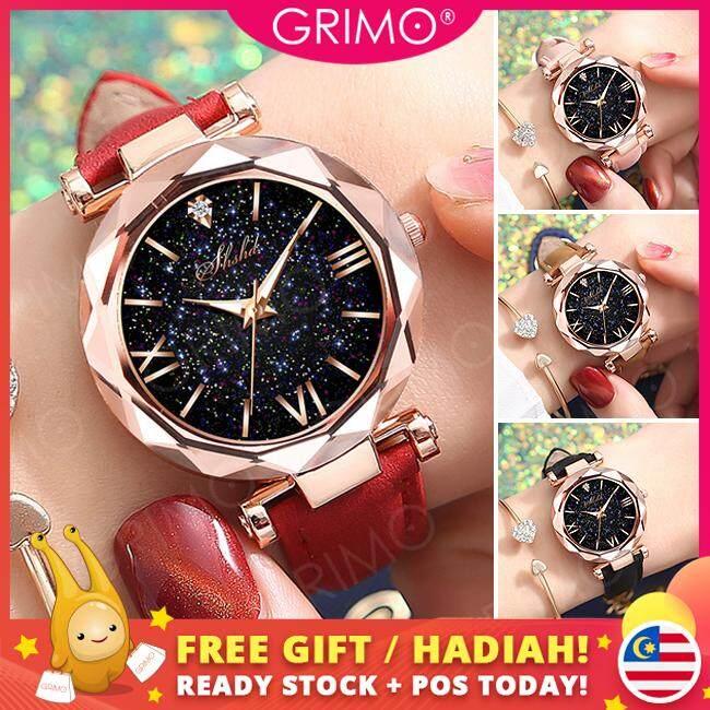 GRIMO Malaysia - SHSHD Luminous Star Watch Elegant Jam Tangan Woman Leather Diamond Wanita Perempuan Star Dial Women Ladies Girls New August 2019 Malaysia
