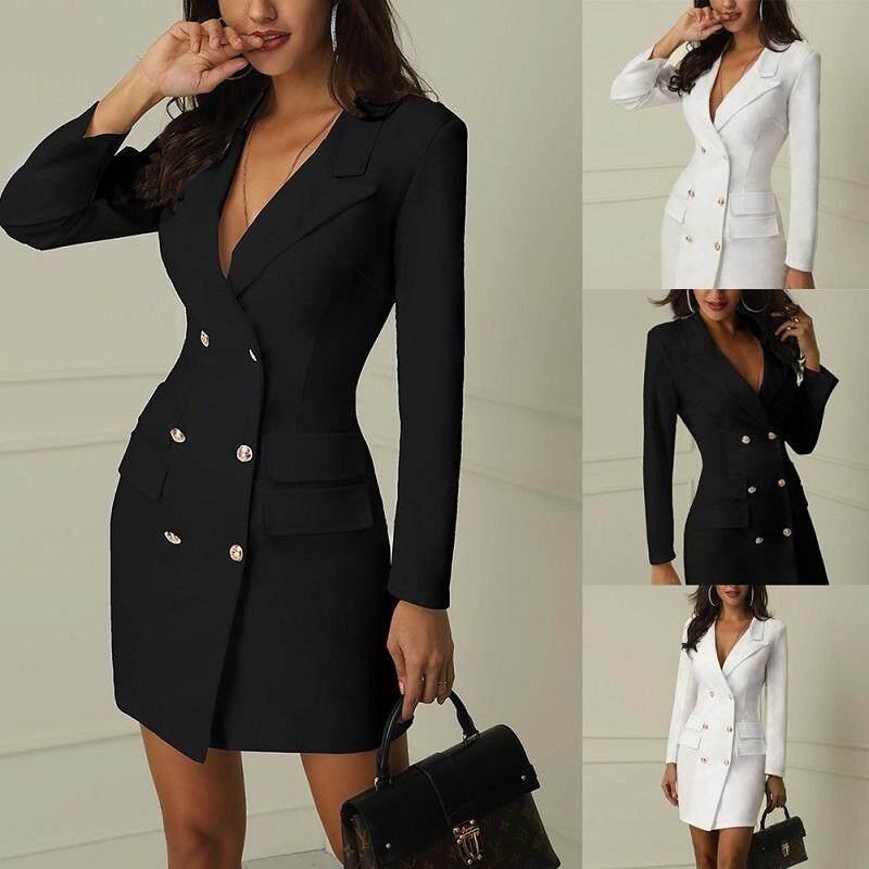 52ba74aff0 Women Bodycon Lapel Blazer Double Breasted Long Sleeve V-neck Dress Formal