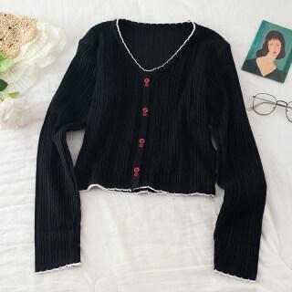 Áo dệt kim nữ cổ chữ V ngắn tay chất liệu lụa lạnh ren màu trơn thời trang thumbnail