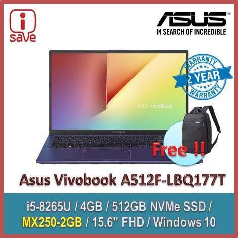 ASUS Laptop Vivobook A512F-LBQ177T 15.6  FHD  Peacock Blue (i5-8265U,4GB,512GB,MX250,Win10) Malaysia
