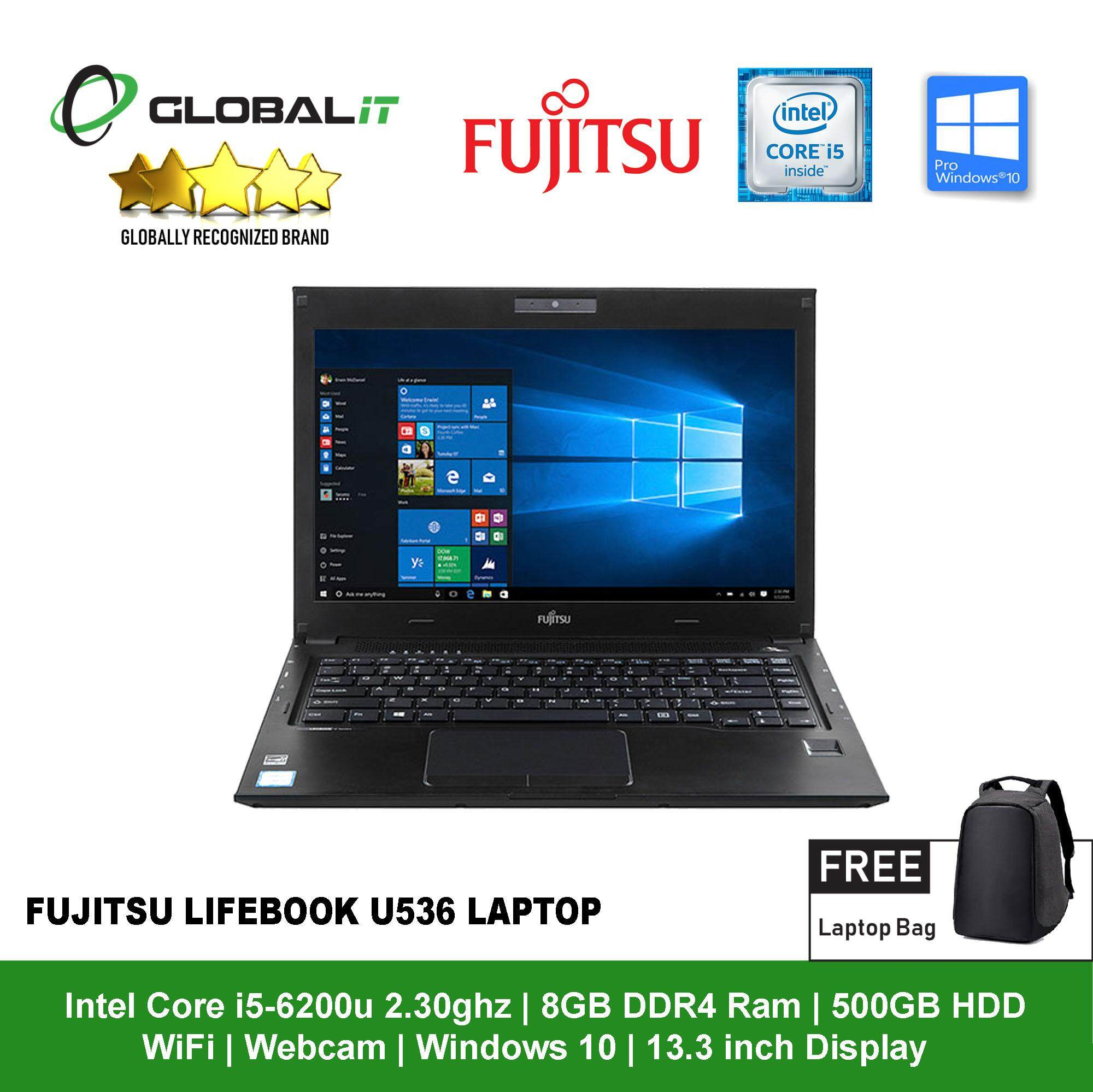 (Refurbished Notebook) Fujitsu Lifebook U536 Laptop / 13.3 inch Display / Intel Core i5-6200U / 8GB DDR4 Ram / 500GB HDD / WiFi / Windows 10 / Webcam Malaysia