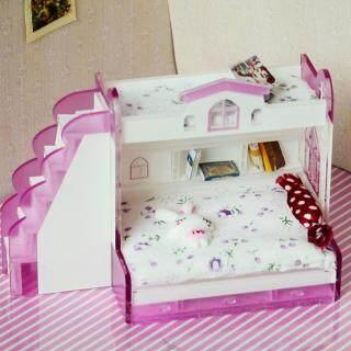 Dolity Đồ Nội Thất Nhà Búp Bê Thu Nhỏ 1 12, Đôi Giường Tầng Cho Phòng Ngủ Phụ Kiện thumbnail