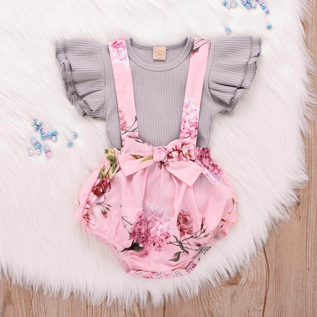 35d71fe2f8d2 ViviMall Toddler Infant Baby Girl Sleeveless Ruffle Tops Overall Floral  Short Clothes Set