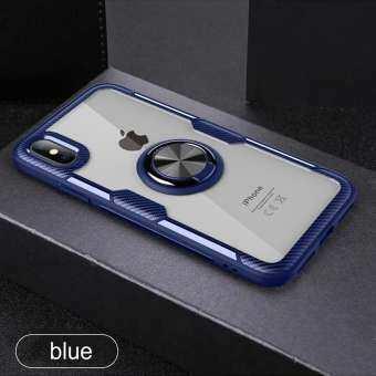 Clear Shockfproof เกราะกรณีที่ยึดรถแม่เหล็กขาตั้งแหวนนิ้วมือคาร์บอนไฟเบอร์ฝาหลังสำหรับ IPhone X/XS-