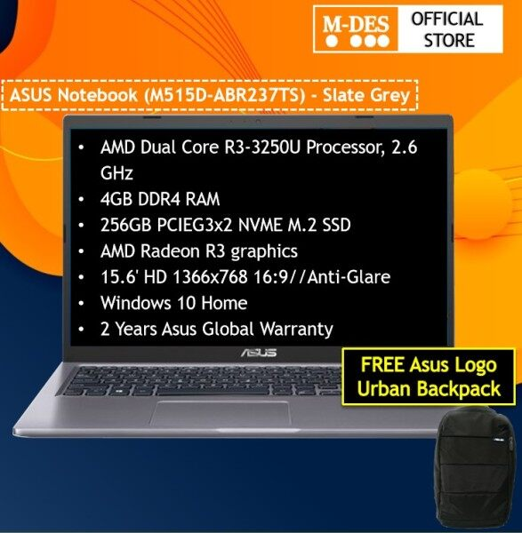 Asus M515D-ABR237TS Laptop / Notebook Slate Grey ( R3-3250U / 4G Ram / 256GB SSD / AMD Graphic / 15.6HD/W10 + Bag ) Malaysia