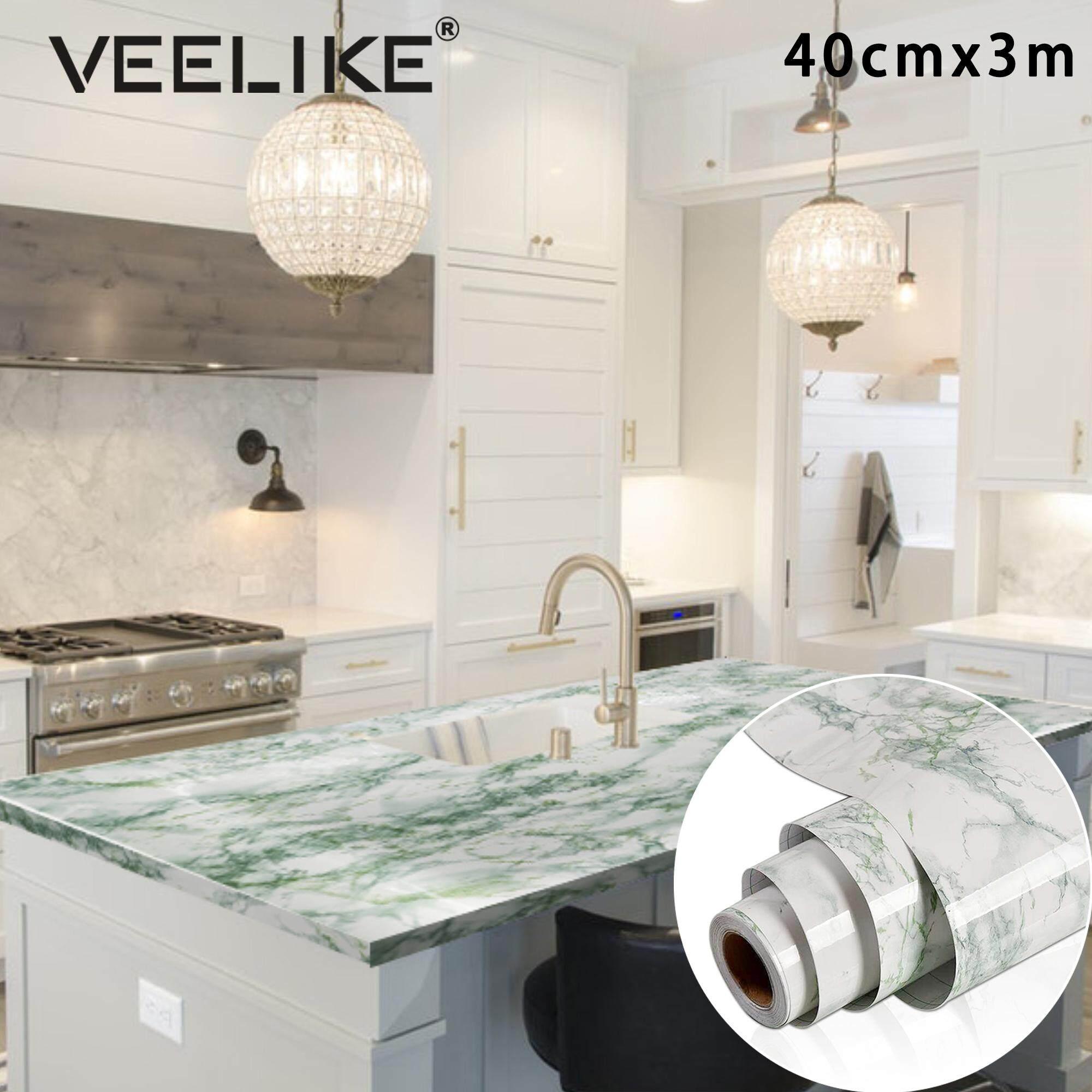 [Hot Sale]Veelike 40cmX300cm Marble Vinyl Film Self Adhesive Wallpaper for Bathroom Kitchen Cupboard Countertops Contact Paper PVC Waterproof Wall Stickers