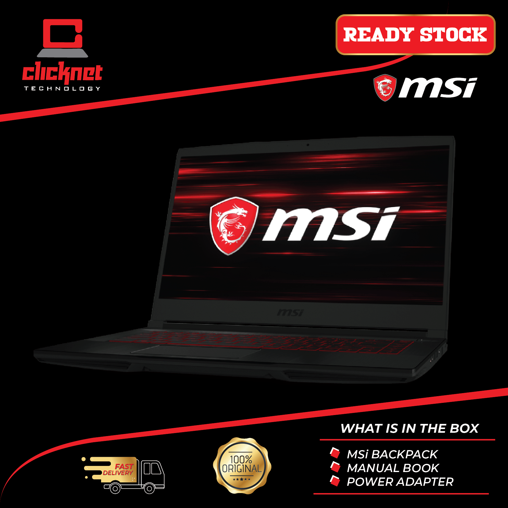 MSI GF63-9SC-634 15.6  FHD IPS Gaming Laptop BLK (i5-9300H 4GB 512GB GTX 1650 4GB MAX-Q 15.6FHD W10) Malaysia
