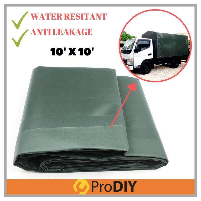 BELWAY M450 Lorry Canvas 10' x 10' PVC Tarpaulin Vi nylon Olive Green Ready Made Heavy Duty Cover Lorry Canvas Outdoor Waterproof Construction Slope Protection Shield Awning Sidewall Hardware Canopy Tent Extension