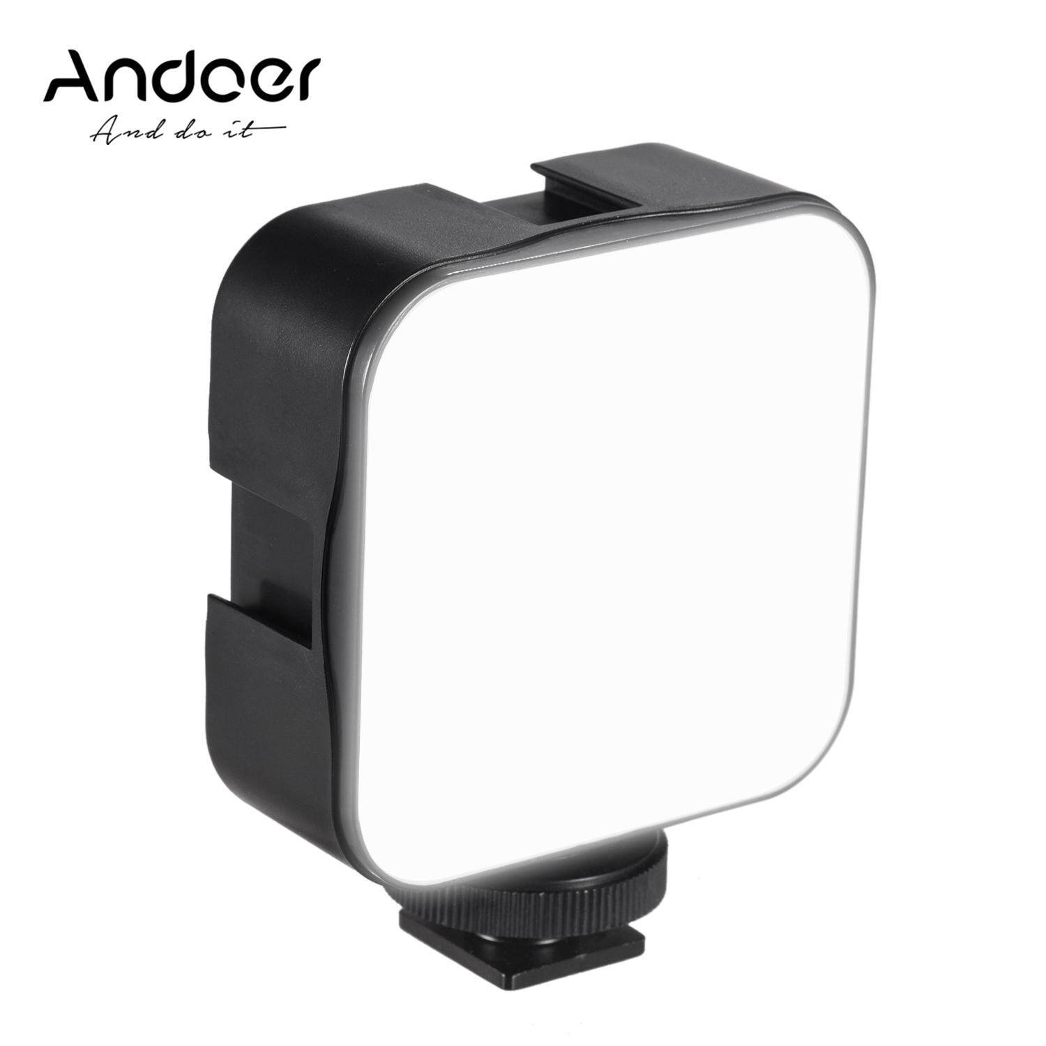 Andoer Mini Led Video Light Photography Fill-In Lamp 6500k Dimmable 5w With Cold Shoe Mount Adapter For Canon Nikon Sony Dslr Camera.