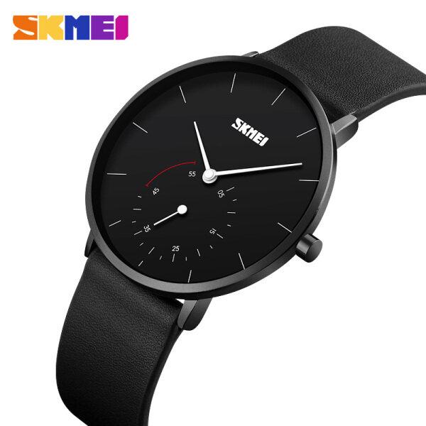 SKMEI New Men Fashion Watch Casual Quartz Simple Leather Strap Waterproof Wristwatches 9213 Malaysia