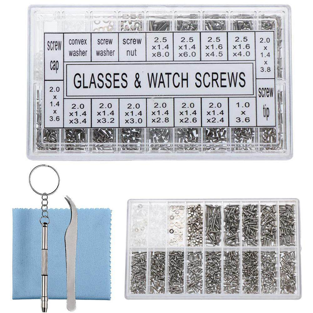 Outflety Eyeglass Repair Kit Eyewear Nose Pads Set & 1000 Pieces Screws Nut Washer With Tweezers Screwdriver And Cleaning Cloth By Outflety.