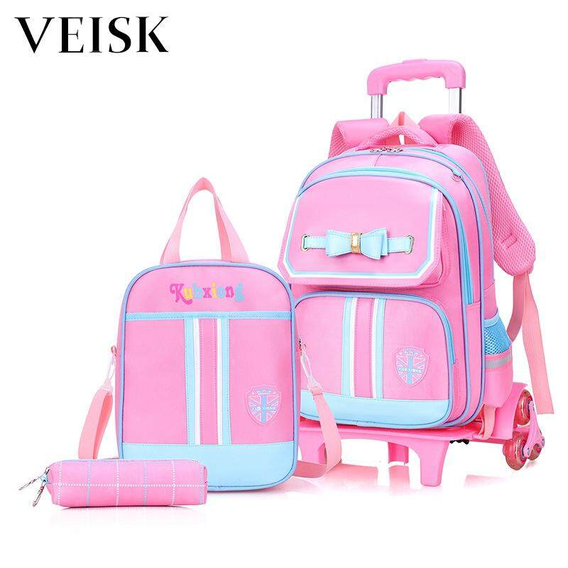 Veisk Two-piece Set Children Trolley Bag Removable Three Stairs Children Bag Primary School Students Trolley
