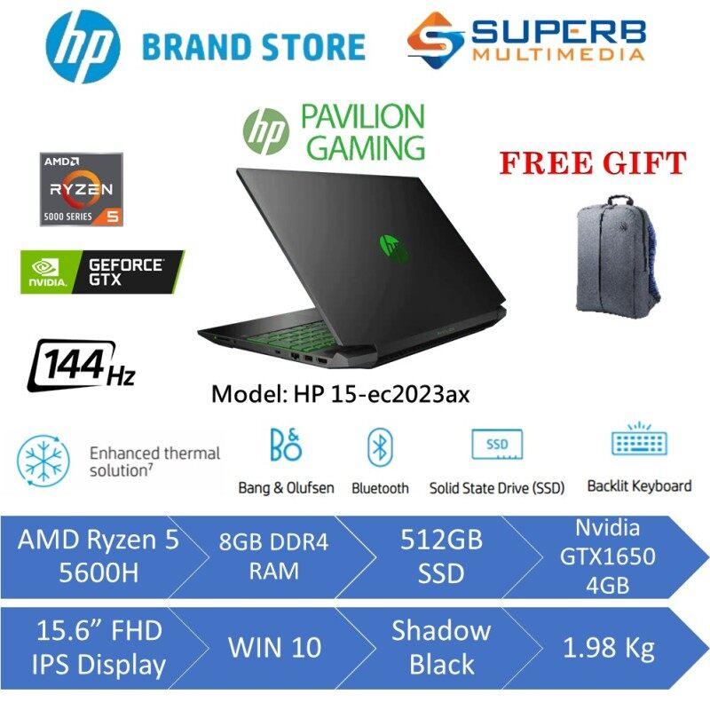 HP Pavilion Gaming 15-ec2023ax laptop (AMD Ryzen 5 5600H, 8gb ram, 512gb ssd, Nvidia GTX1650 4GB, 15.6 FHD IPS 144Hz, Win10) Malaysia