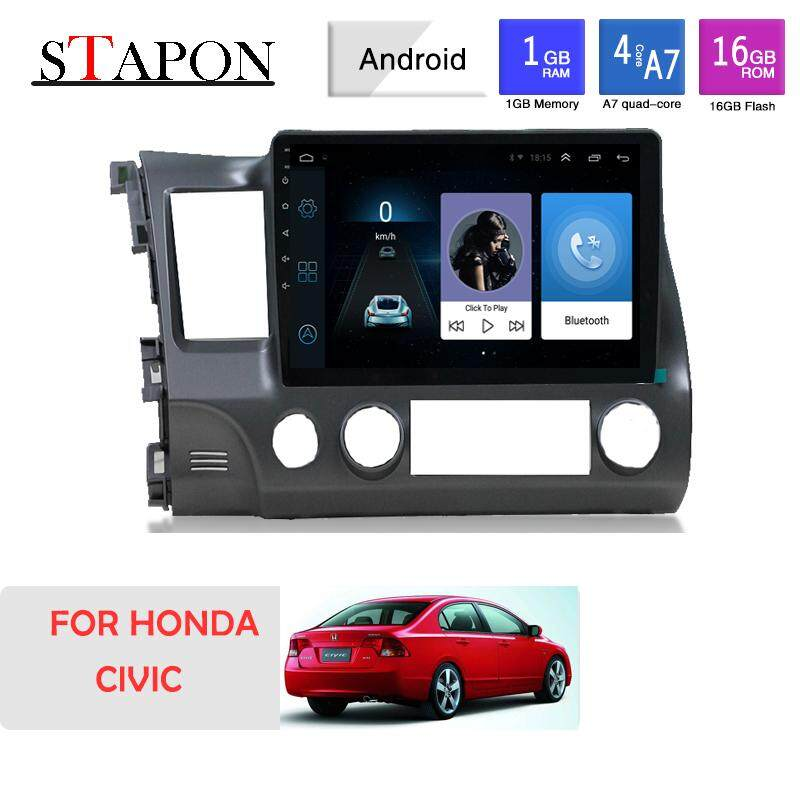 STAPON 10inch 2.5D for honda civic 2006-11 Android8.0 HEAD UNIT plug and play  car MP5 player with WiFi Bluetooth GPS FM AM rear view steering wheel control 1001A image