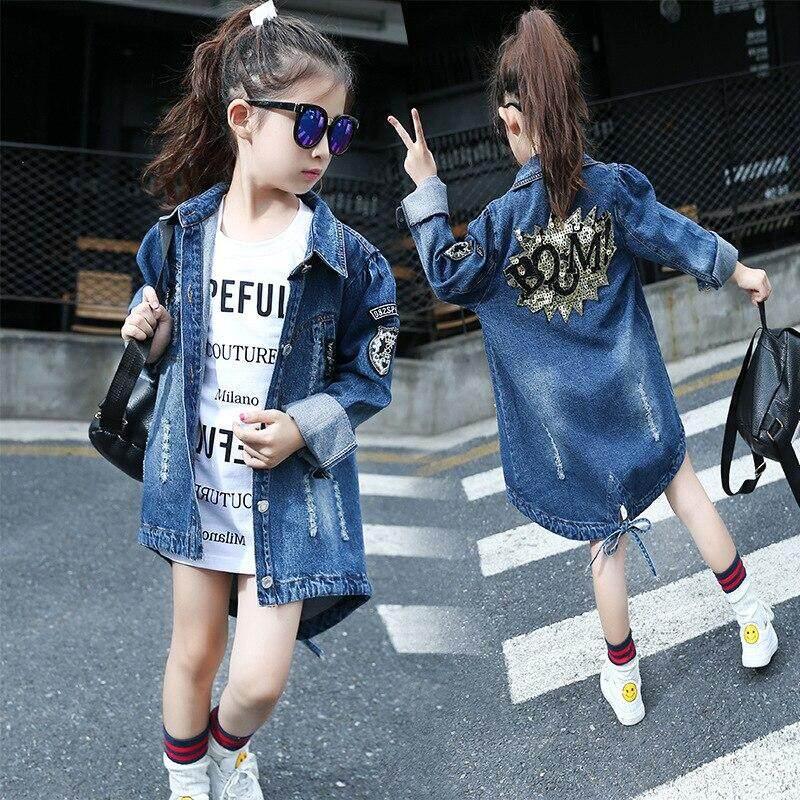 f3b3b0bbd Girl Denim Clothing Sequin Coat Retro Jeans Jacket Girl Clothes Boy Denim  Jacket Kid Coat Cowboy