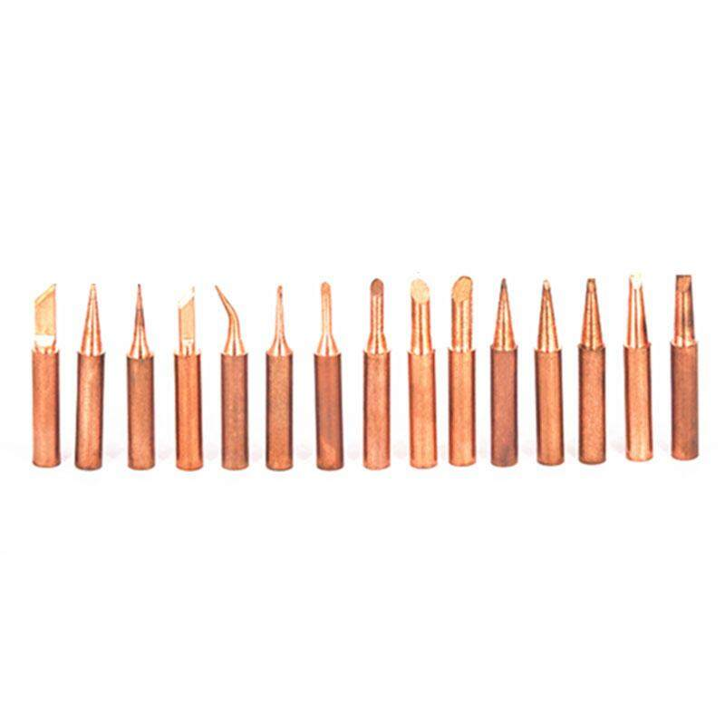 15Pcs Pure Copper Iron Tip 900M-T Soldering Tip For Hakko Soldering Rework Station Soldering Iron Station