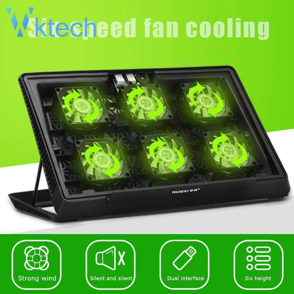 H8 2 USB Port 6 LED Fans Laptop Cooler Silent Notebook PC Cooling Pad Malaysia