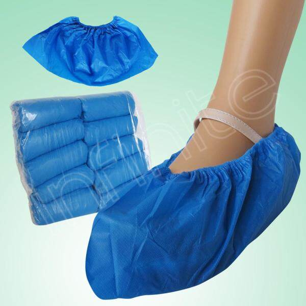 100pcs/bag Disposable Non-slip CPE Shoe Cover Outdoor Waterproof Embossed Blue 3.5G