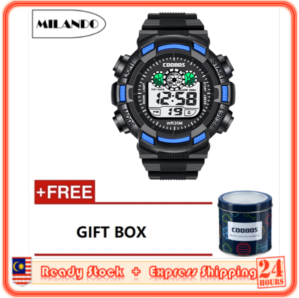 MILANDO Children watches LED Digital Multifunctional 30M Waterproof Outdoor Sports Watch FREE GIFT BOX (Type 11) Malaysia