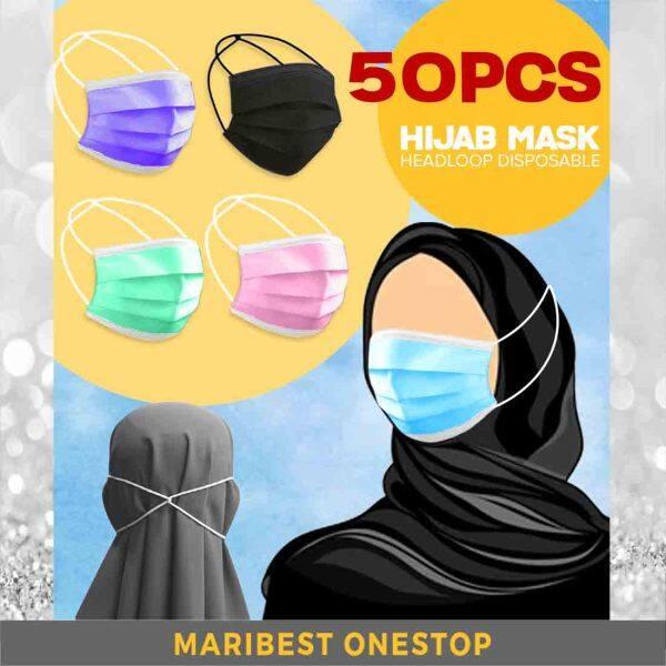 50PCS ADULT HIJAB FACE MASK HEADLOOP TUDUNG 3 PLY DISPOSABLE MASK MURAH