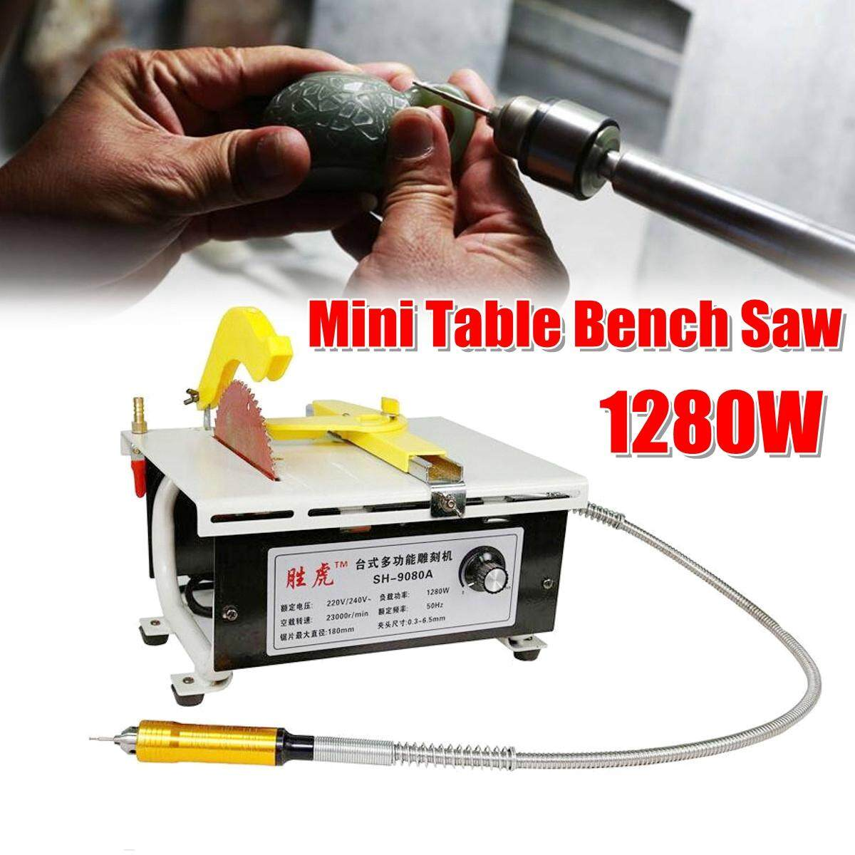 【Free Shipping + Flash Deal】1280W 220V Mini Table Bench Saw Jade Sculpt Carving Belt Machine Polishing Bench Grinder Standard