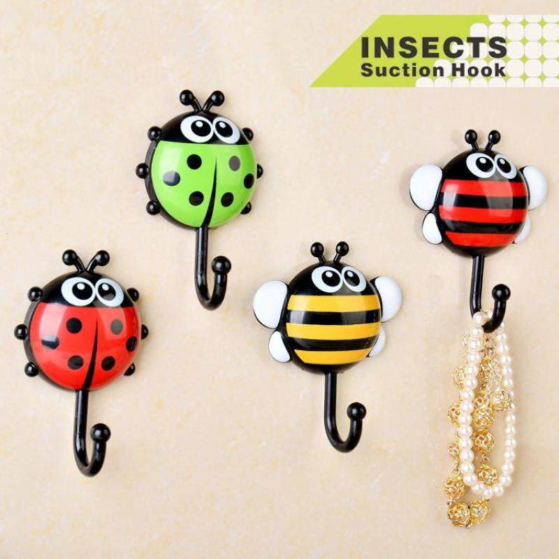4PCS Creative ladybug sucker hook beetle to install sucker hook cartoon stick hook wash hook