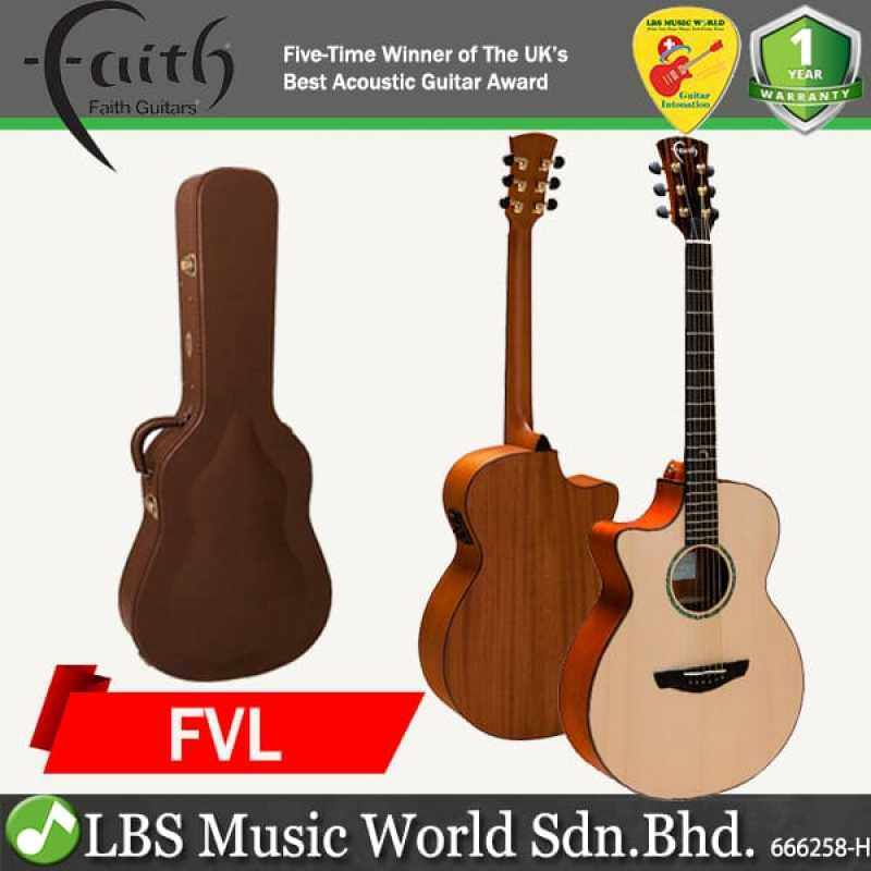 Faith FVL Natural Venus Cutaway Full Solid Acoustic Electric Guitar Lefthanded Pickup with Case Malaysia
