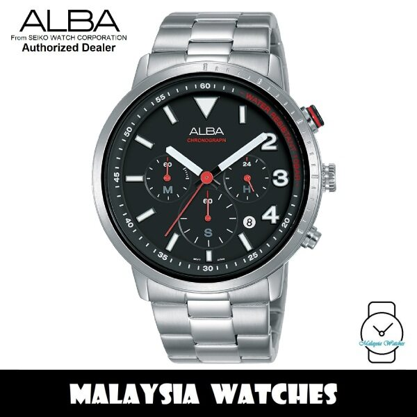Alba AT3F45X SignA Quartz Chronograph Black Dial Silver-Tone Stainless Steel Mens Watch AT3F45 AT3F45X1 (from SEIKO Watch Corporation) Malaysia