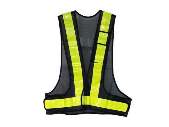 Reflective Safety Vest with V-Shape Reflective Strip and Black Fabric