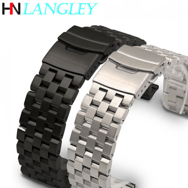 LANGLEY Watch Band Men Watches Accessories Brushed Stainless Steel Watch Band Strap 18mm/20mm/22mm/24mm/26mm Metal Replacement Bracelet Men Women Black/Silver WristBand Malaysia