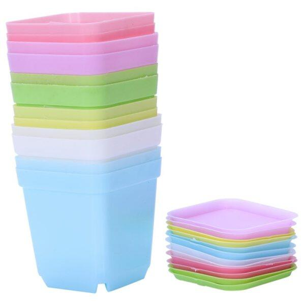 Colorful Plastic Plant Pots with Saucers, Set of 12 Malaysia