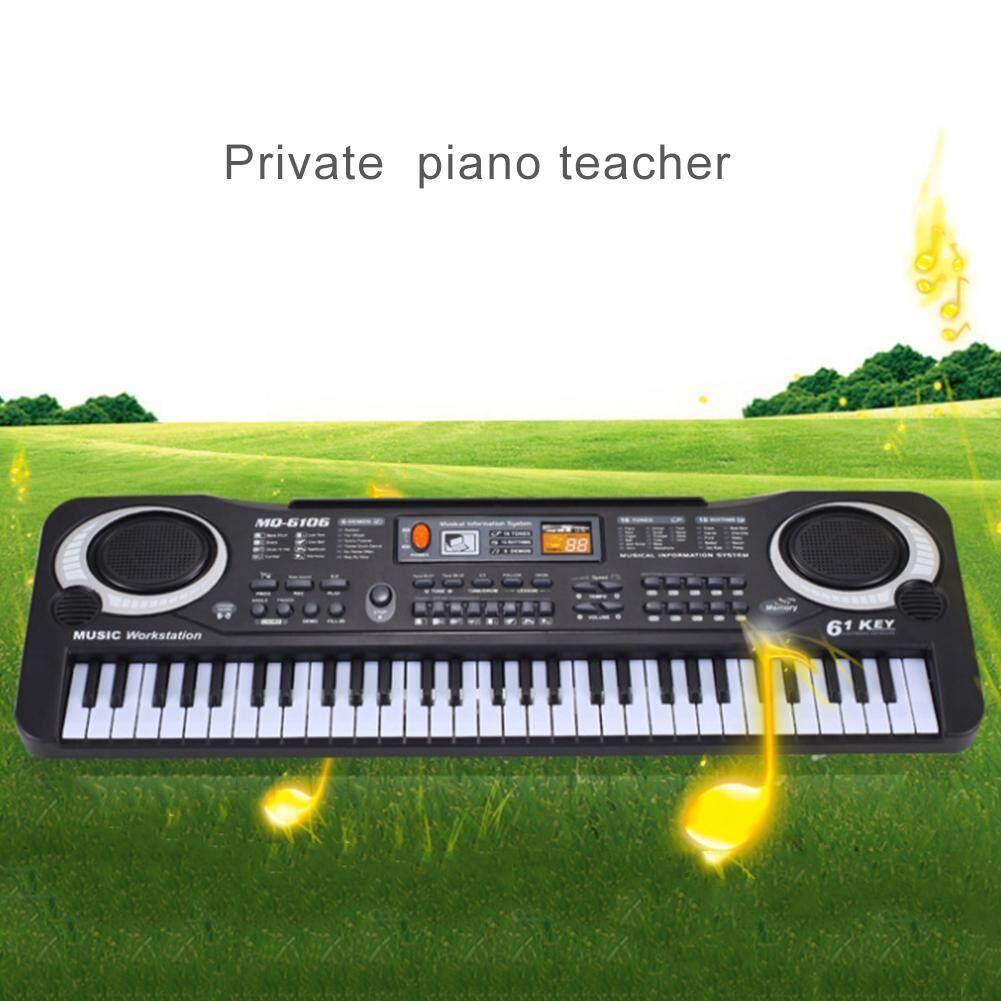 61 phím ABS Điện Tử Kỹ Thuật Số Bàn Phím và Micro Điện LED Đàn Piano ĐEN