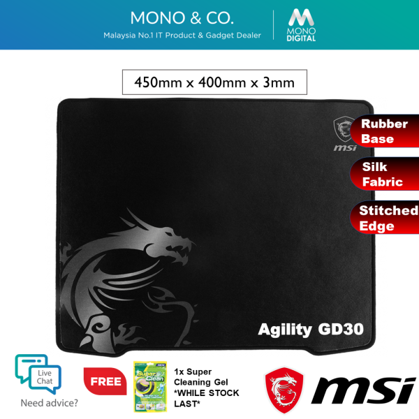 MSI Agility GD30 Large Gaming Mouse Pad with Non-Slip Rubber Base & Smooth Silk Fabric Surface [Free Cleaning Gel] Malaysia