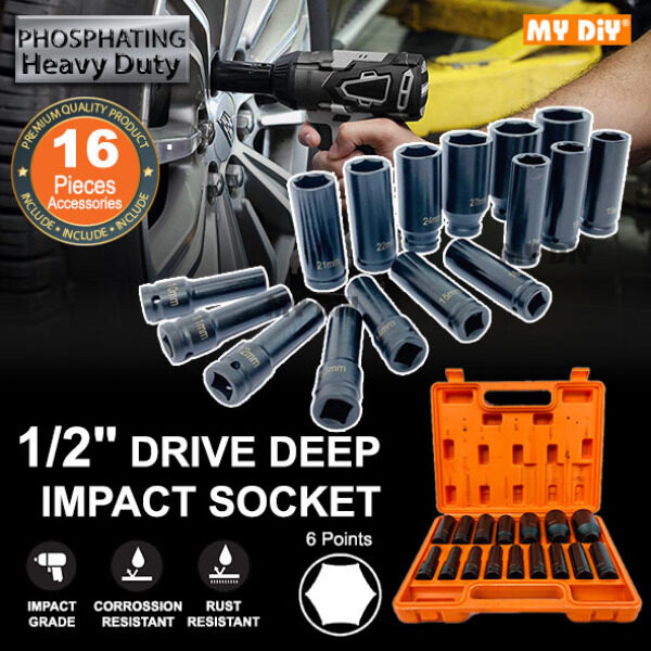 MYDIYHOMEDEPOT - 16pcs Heavy Duty 1/2 Drive Deep Impact Socket Phosphating Kit Heavy Duty Impact Wrench Dr Socket Set 10 11 12 13 14 15 16 17 18 19 21 22 24 27 30 32mm - 6 Points