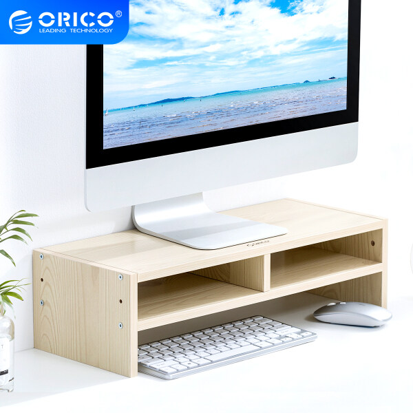 ORICO Wood Monitor Stand Riser Computer Desk TV Laptop Printer Stand Desktop Shelf for PC Notebook with Keyboard Mouse Storage(MSR)