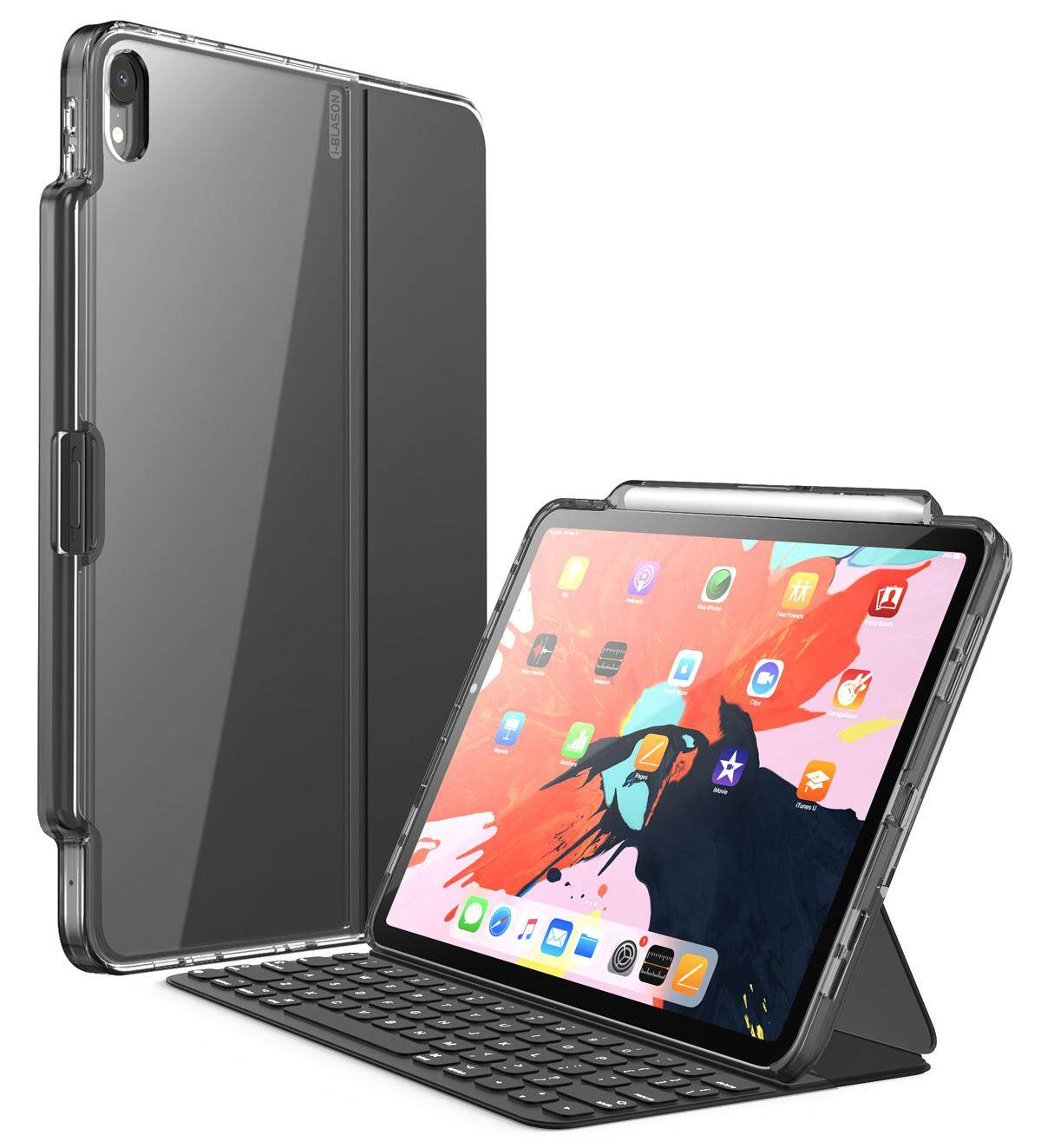 For iPad Pro 11/ 12.9 Case 2018 i-Blason Clear Transparent Hybrid Protective Case Cover with Pencil Holder without Keyboard