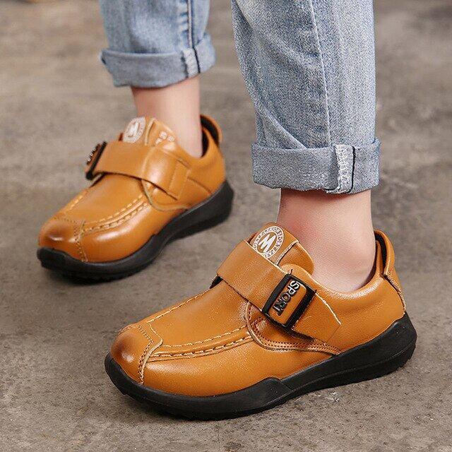 Giày Da Thật Cho Trẻ Em Mới, Giày Tây Trẻ Em 2018 Giày Bé Trai Trang Trọng, Giày Thể Thao Đế Bằng Cổ Điển Size 26-37 Đỏ Màu Vàng Màu Xanh Dương Màu Đen