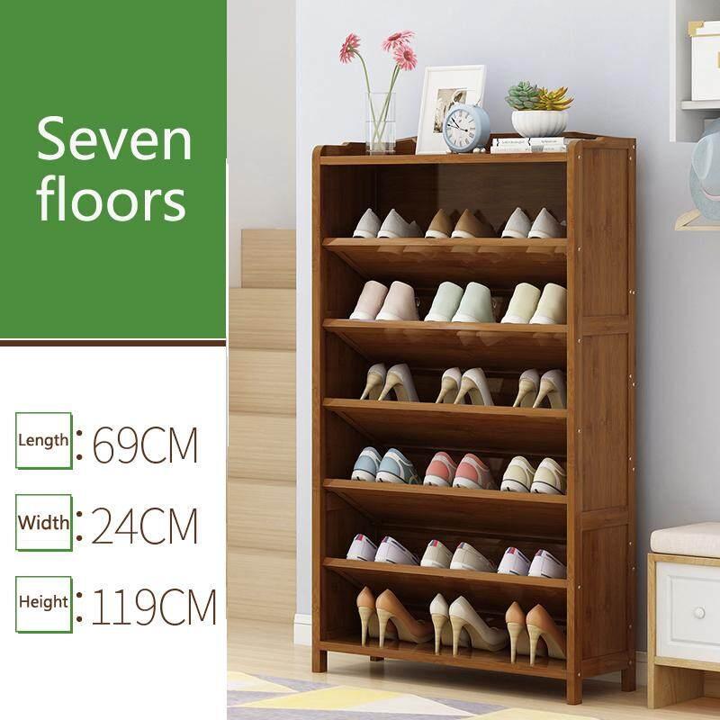 RuYiYu - 69x24x119cm 7-Layer Bevel Shoe Rack, Solid Bamboo, Simple Storage Tower Cabinet, Hallway Bamboo Organizer, Space Saving Versatile
