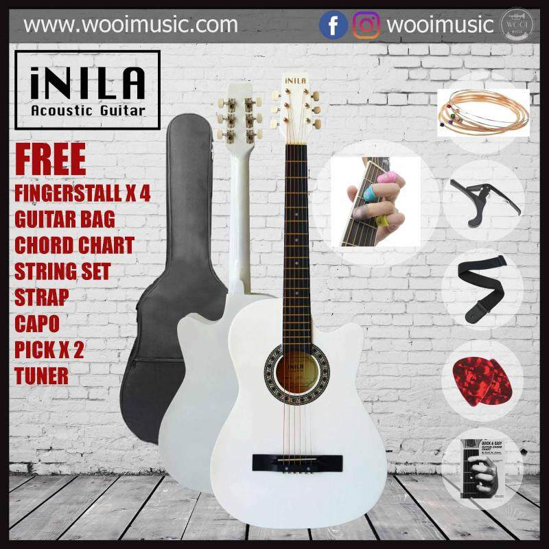 iNILA i38C Acoustic Guitar 38 Pack A - White (FREE bag, strap, pick, capo, string, chord chard, finger tip) Malaysia