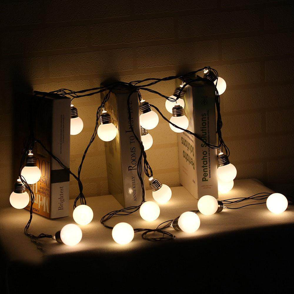 JUN TU SHOP 4M 10LED Solar Powered Fairy String Light Bulb Lamp Beads   Decor Indoor Outdoor Christmas Decorative Warm White Light for Holiday Xmas Tree Wedding Party Seasonal Decorations for Hanging and Wrapping of Trees